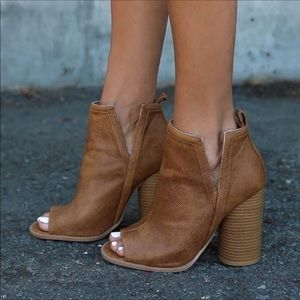 Shoes - Last One! Camel peep toe Bootie 10